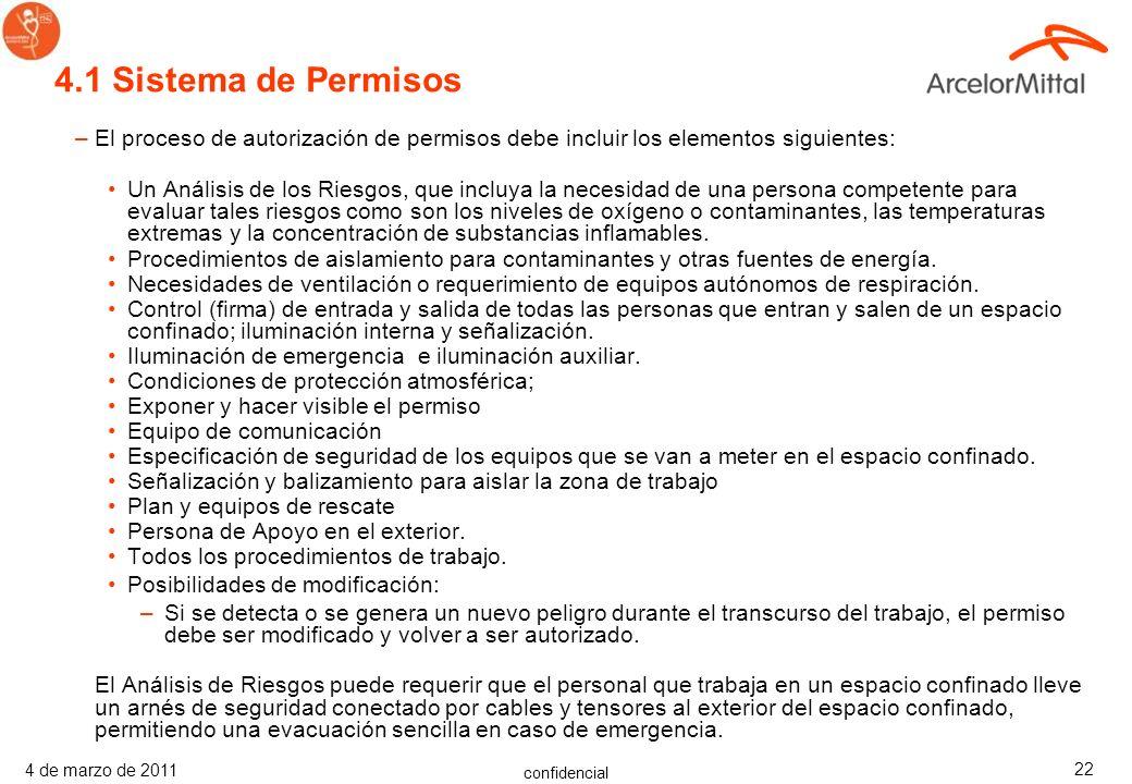 4.1 Sistema de Permisos El proceso de autorización de permisos debe incluir los elementos siguientes: