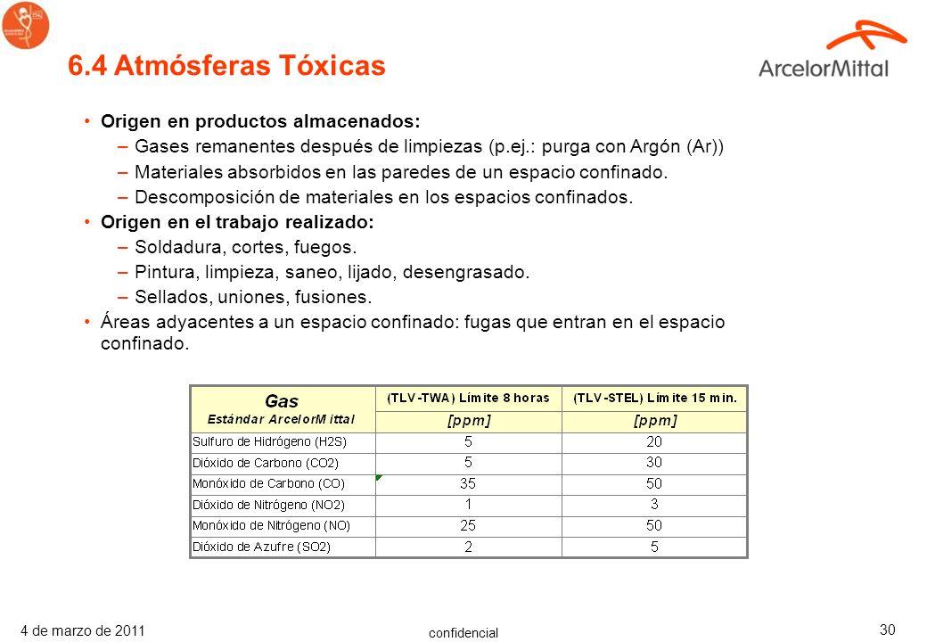 6.4 Atmósferas Tóxicas Origen en productos almacenados: