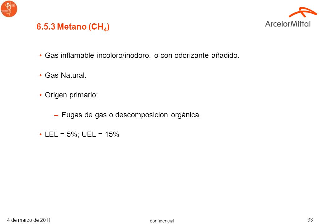 6.5.3 Metano (CH4)Gas inflamable incoloro/inodoro, o con odorizante añadido. Gas Natural. Origen primario: