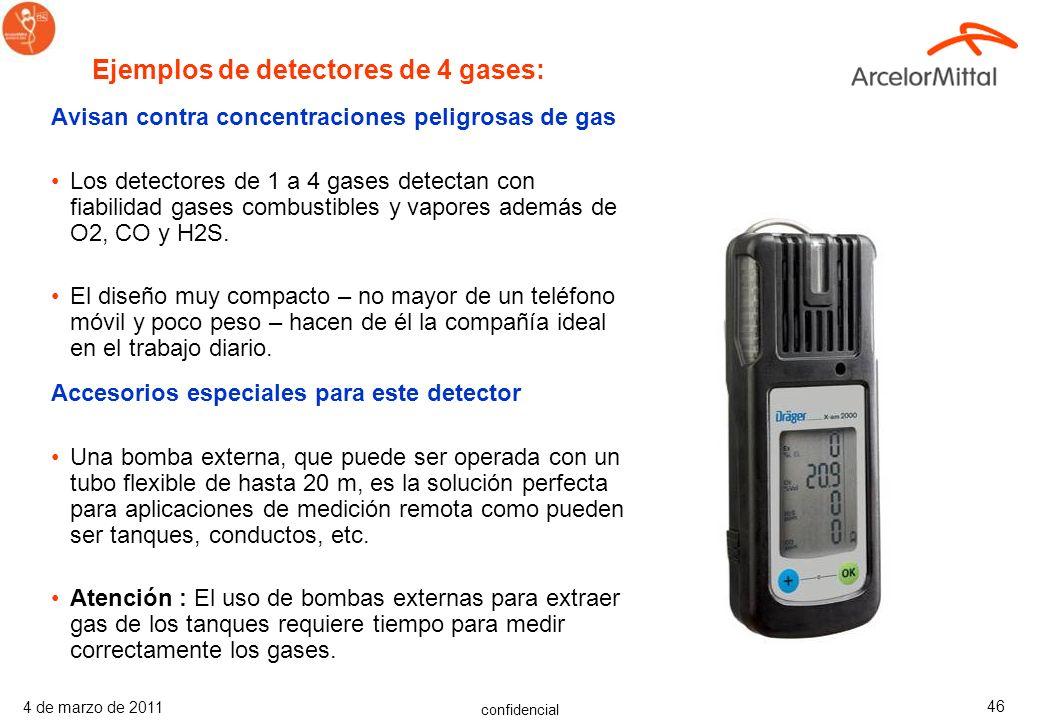 Ejemplos de detectores de 4 gases:
