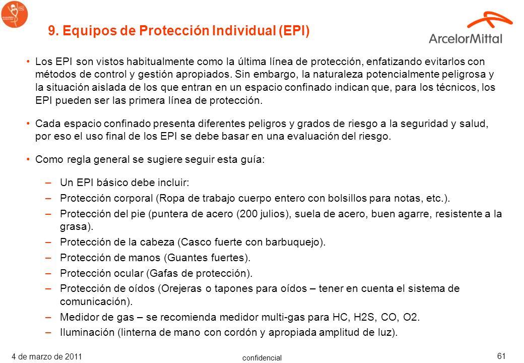 9. Equipos de Protección Individual (EPI)