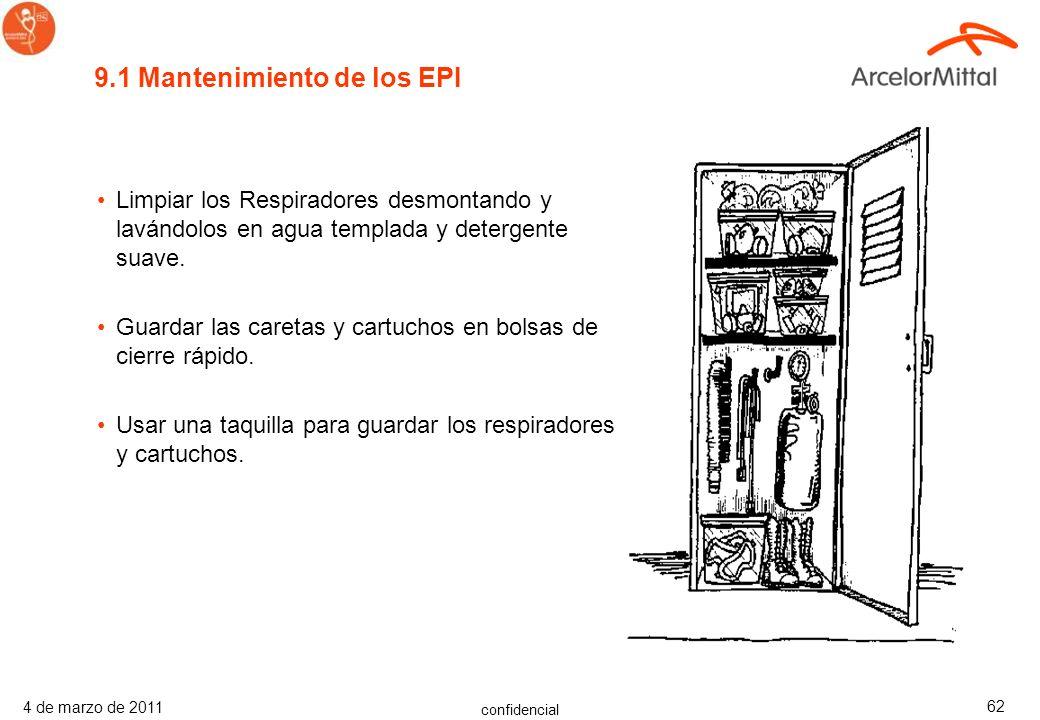 9.1 Mantenimiento de los EPI