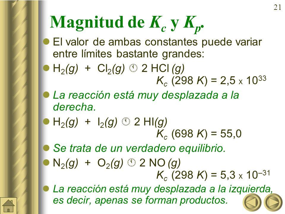 Magnitud de Kc y Kp. El valor de ambas constantes puede variar entre límites bastante grandes: