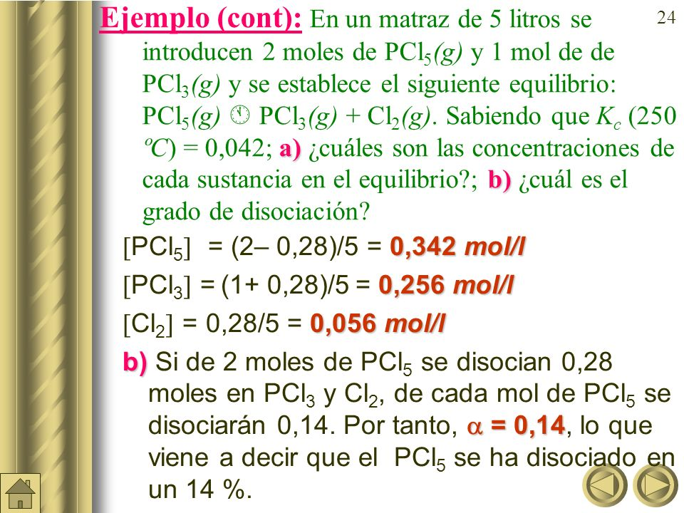 Ejemplo (cont): En un matraz de 5 litros se introducen 2moles de PCl5(g) y 1 mol de de PCl3(g) y se establece el siguiente equilibrio: PCl5(g)  PCl3(g) + Cl2(g). Sabiendo que Kc (250 ºC) = 0,042; a) ¿cuáles son las concentraciones de cada sustancia en el equilibrio ; b) ¿cuál es el grado de disociación