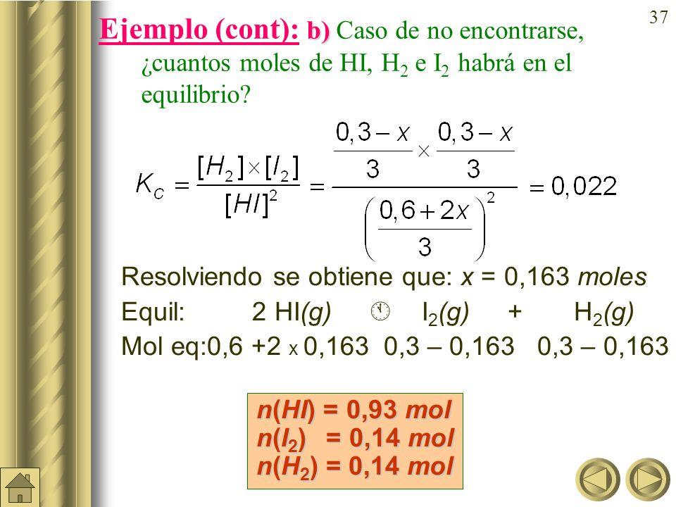 Ejemplo (cont): b) Caso de no encontrarse, ¿cuantos moles de HI, H2 e I2 habrá en el equilibrio