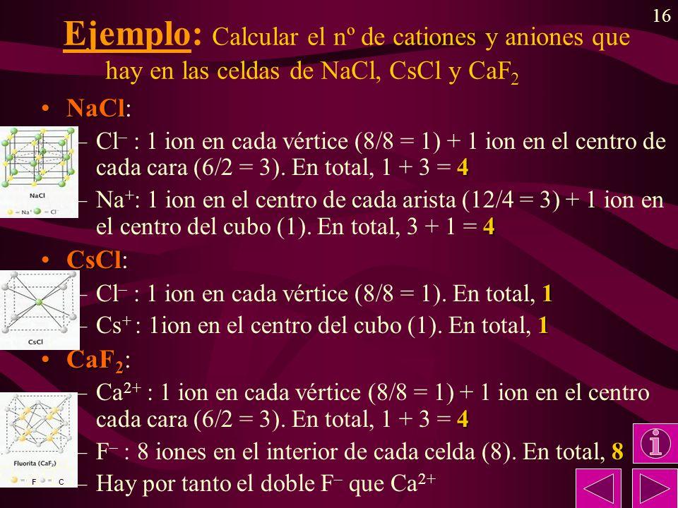 Ejemplo: Calcular el nº de cationes y aniones que hay en las celdas de NaCl, CsCl y CaF2