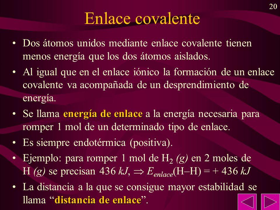 Enlace covalenteDos átomos unidos mediante enlace covalente tienen menos energía que los dos átomos aislados.