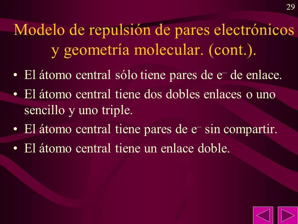 Modelo de repulsión de pares electrónicos y geometría molecular. (cont