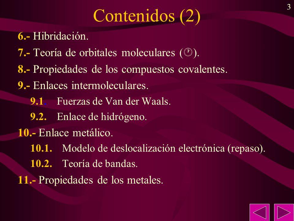 Contenidos (2) 6.- Hibridación.
