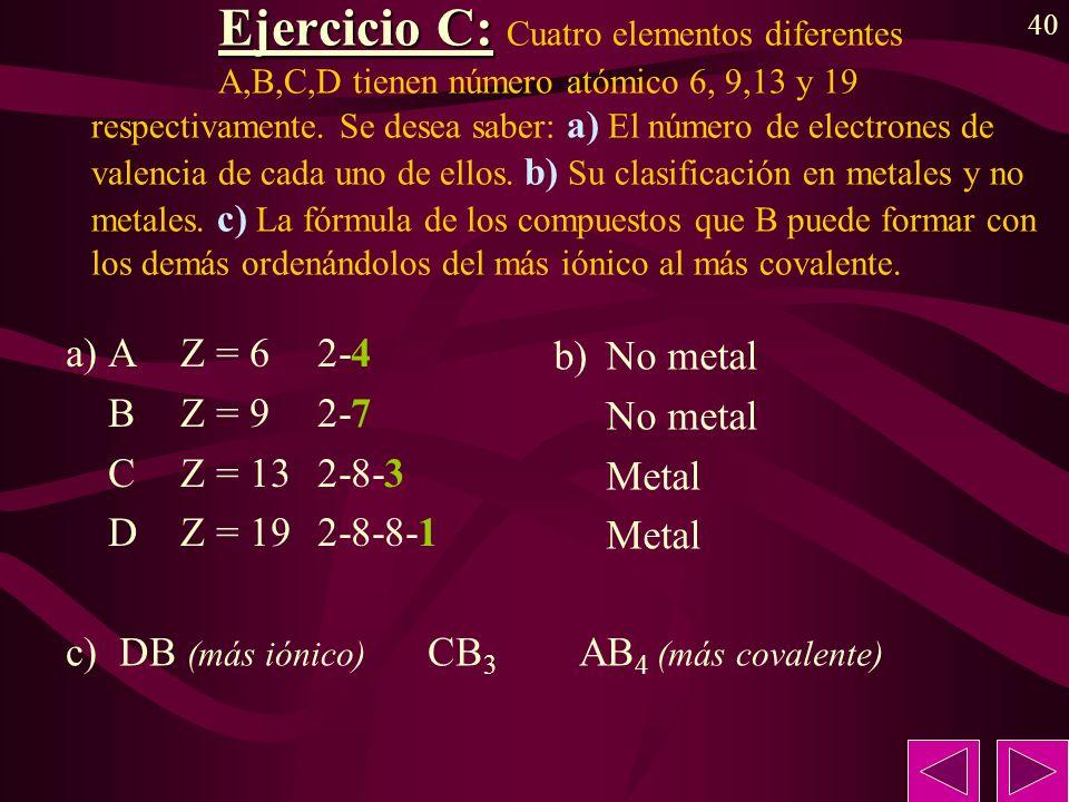 a) A Z = 6 2-4 B Z = 9 2-7 C Z = 13 2-8-3 D Z = 19 2-8-8-1 b) No metal