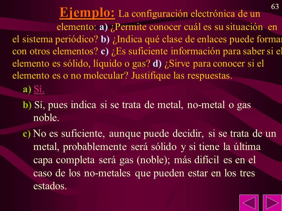 Ejemplo: La configuración electrónica de un