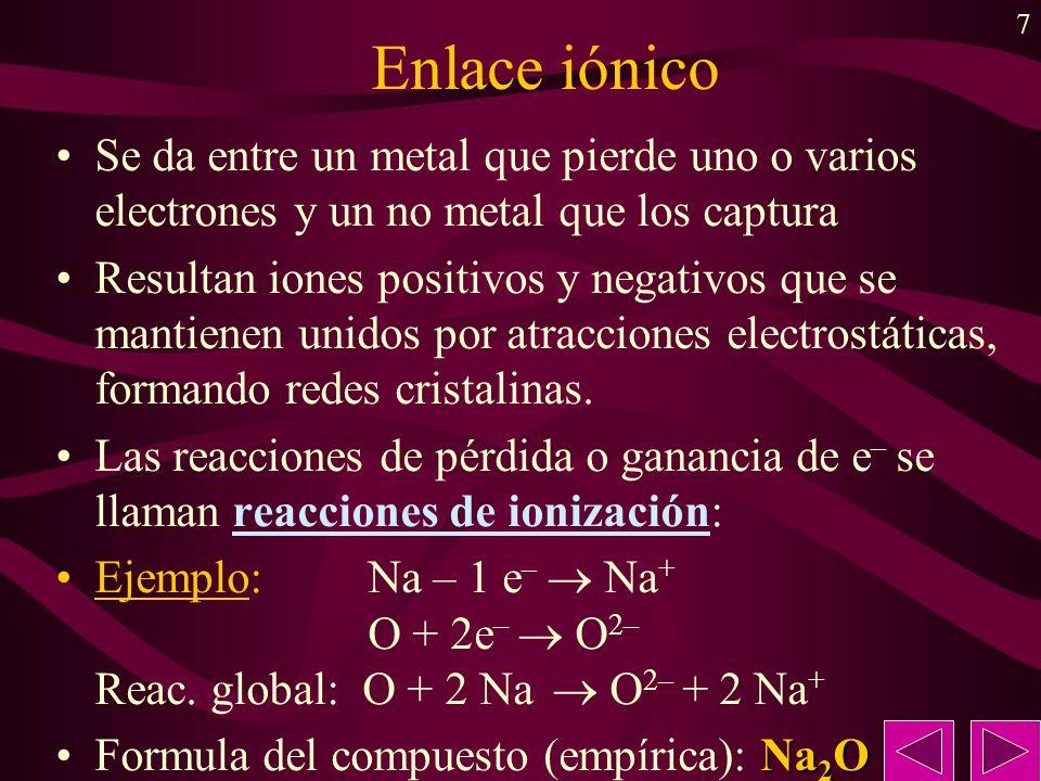 Enlace iónicoSe da entre un metal que pierde uno o varios electrones y un no metal que los captura.