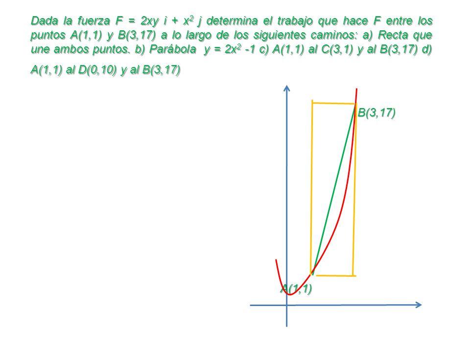 Dada la fuerza F = 2xy i + x2 j determina el trabajo que hace F entre los puntos A(1,1) y B(3,17) a lo largo de los siguientes caminos: a) Recta que une ambos puntos. b) Parábola y = 2x2 -1 c) A(1,1) al C(3,1) y al B(3,17) d) A(1,1) al D(0,10) y al B(3,17)