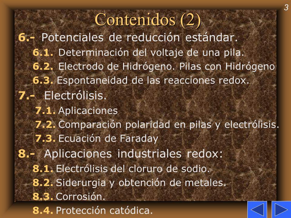 Contenidos (2) 6.- Potenciales de reducción estándar.
