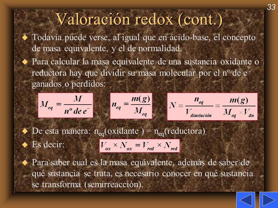 Valoración redox (cont.)