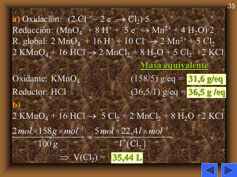 a) Oxidación: (2 Cl– – 2 e–  Cl2)·5 Reducción: (MnO4– + 8 H+ + 5 e–  Mn2+ + 4 H2O)·2 R. global: 2 MnO4– + 16 H+ + 10 Cl–  2 Mn2+ + 5 Cl2 2 KMnO4 + 16 HCl  2 MnCl2 + 8 H2O + 5 Cl2 +2 KCl