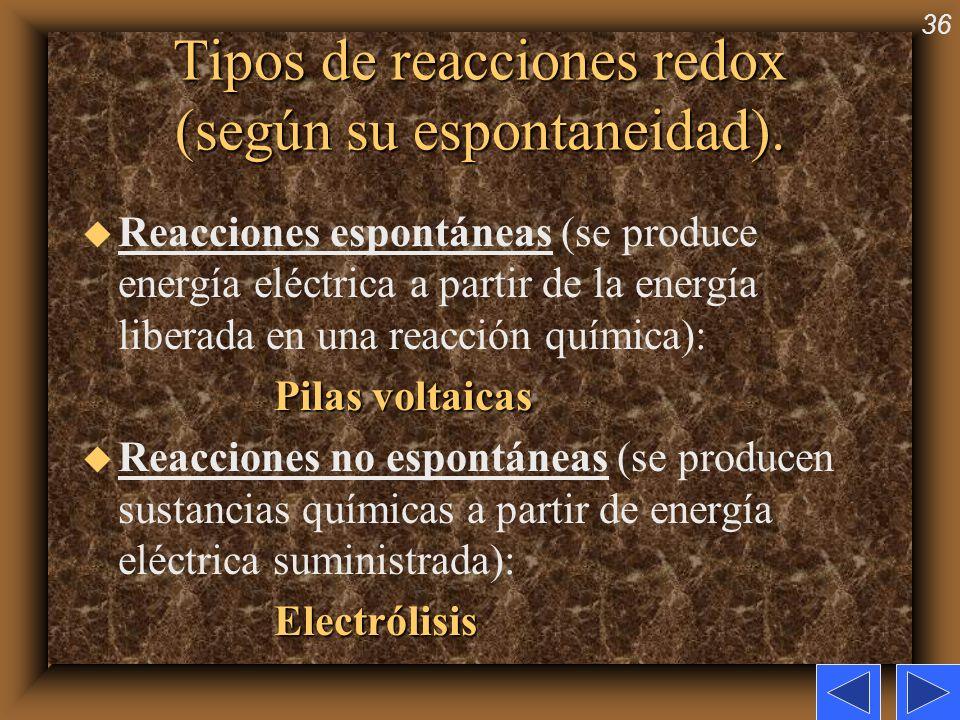 Tipos de reacciones redox (según su espontaneidad).