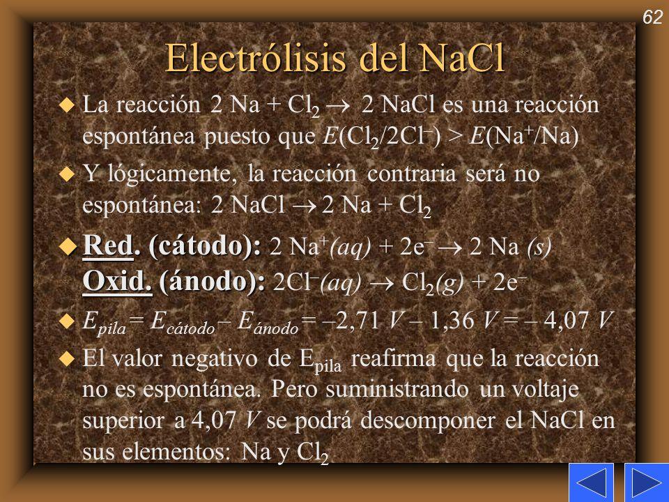 Electrólisis del NaClLa reacción 2 Na + Cl2  2 NaCl es una reacción espontánea puesto que E(Cl2/2Cl–) > E(Na+/Na)