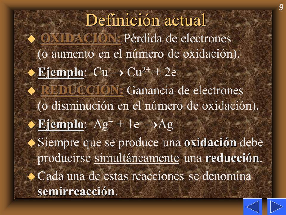 Definición actualOXIDACIÓN: Pérdida de electrones (o aumento en el número de oxidación). Ejemplo: Cu  Cu2+ + 2e–