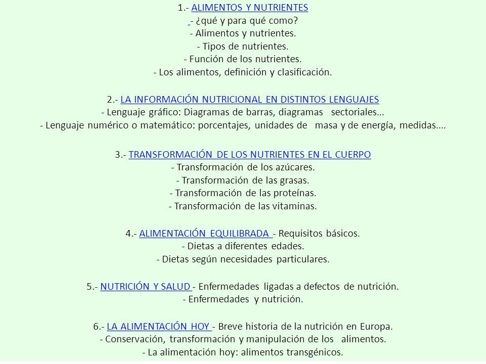 1.- ALIMENTOS Y NUTRIENTES