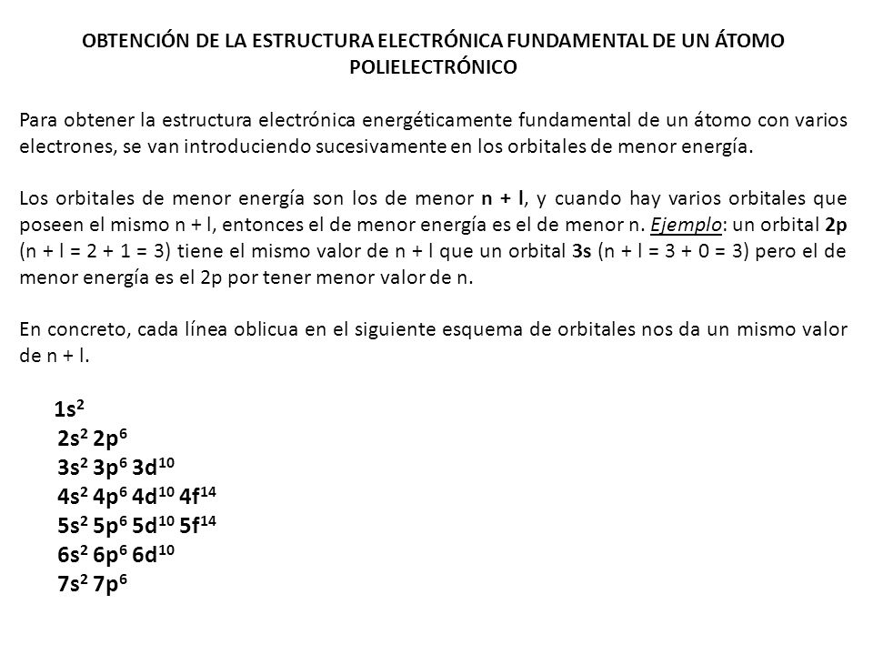 OBTENCIÓN DE LA ESTRUCTURA ELECTRÓNICA FUNDAMENTAL DE UN ÁTOMO POLIELECTRÓNICO