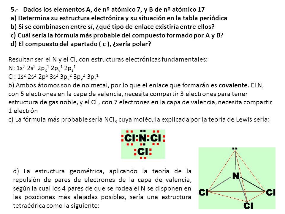5.- Dados los elementos A, de nº atómico 7, y B de nº atómico 17 a) Determina su estructura electrónica y su situación en la tabla periódica b) Si se combinasen entre sí, ¿qué tipo de enlace existiría entre ellos c) Cuál sería la fórmula más probable del compuesto formado por A y B d) El compuesto del apartado ( c ), ¿sería polar
