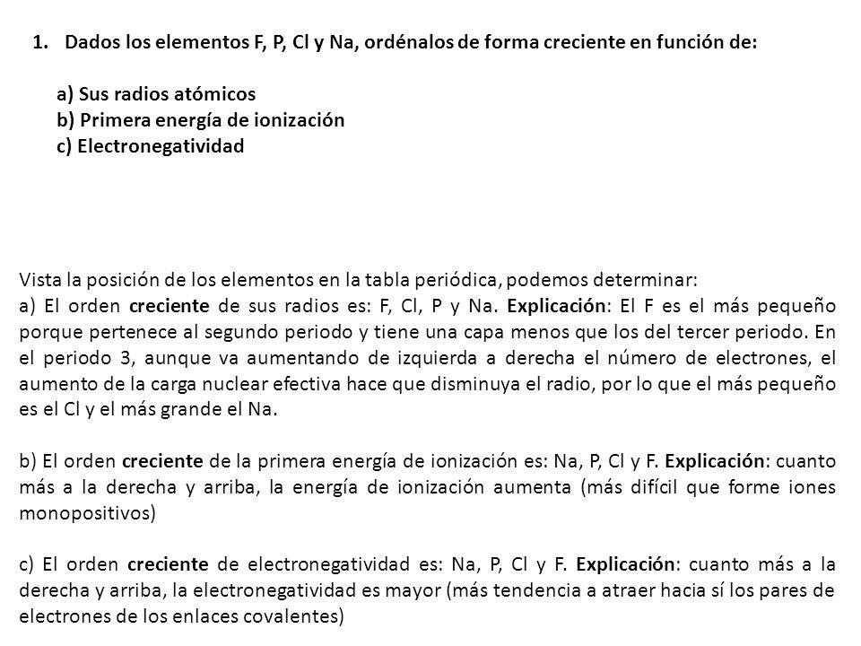 Dados los elementos F, P, Cl y Na, ordénalos de forma creciente en función de: