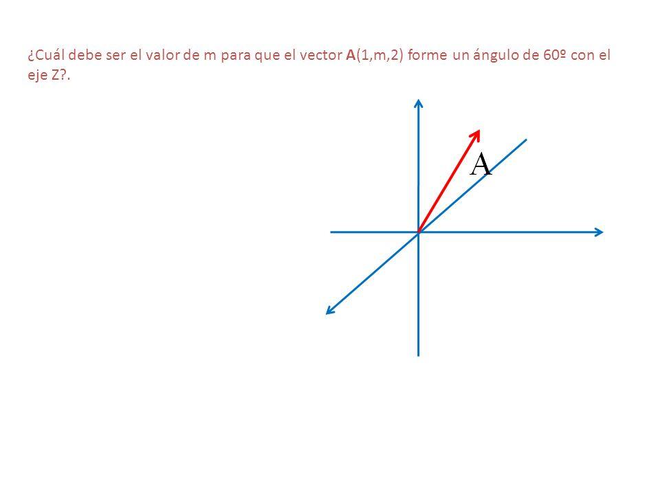 ¿Cuál debe ser el valor de m para que el vector A(1,m,2) forme un ángulo de 60º con el eje Z .