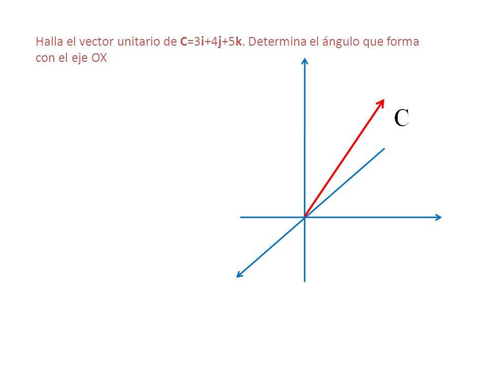 Halla el vector unitario de C=3i+4j+5k