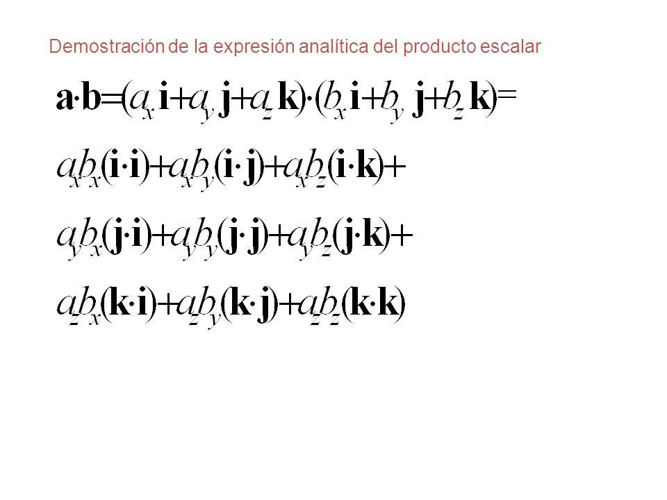 Demostración de la expresión analítica del producto escalar