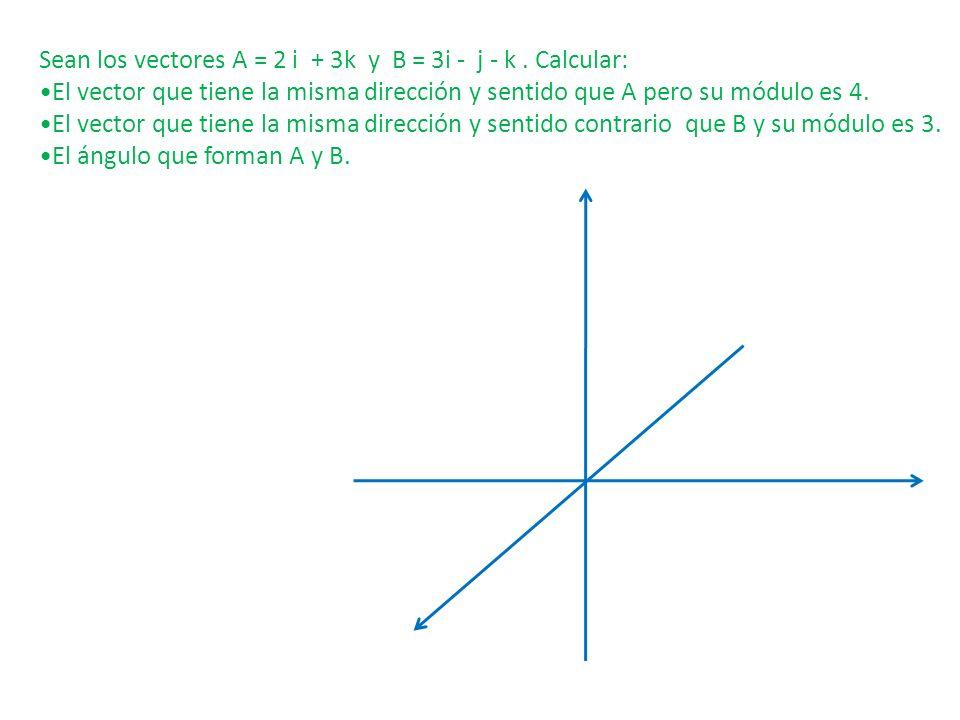 Sean los vectores A = 2 i + 3k y B = 3i - j - k . Calcular: