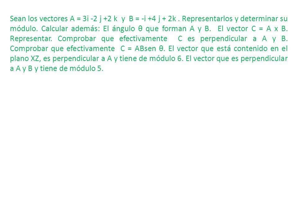 Sean los vectores A = 3i -2 j +2 k y B = -i +4 j + 2k