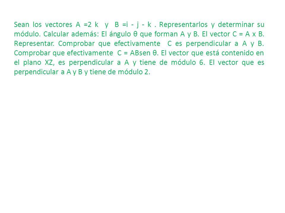 Sean los vectores A =2 k y B =i - j - k