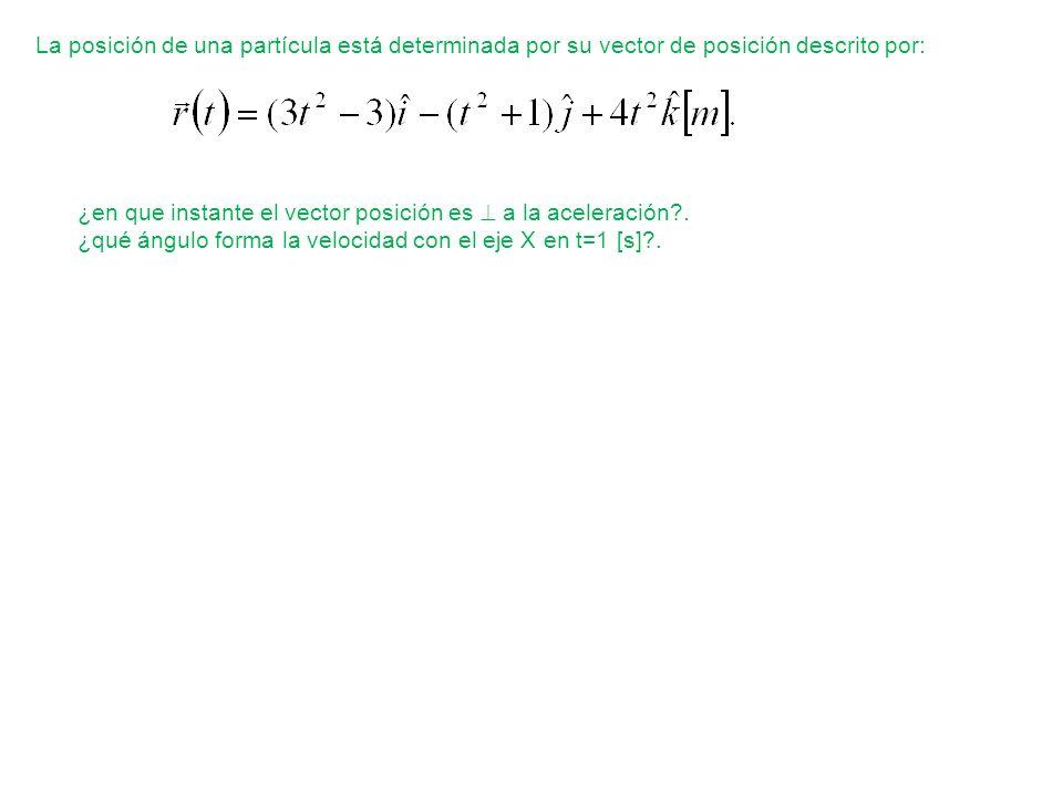 La posición de una partícula está determinada por su vector de posición descrito por: