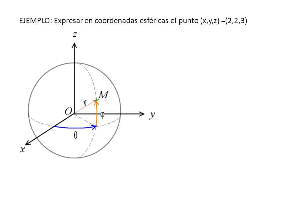 EJEMPLO: Expresar en coordenadas esféricas el punto (x,y,z) =(2,2,3)