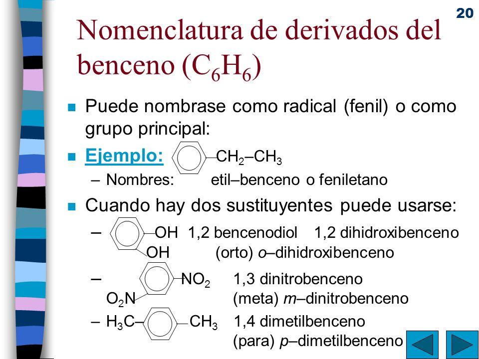 Nomenclatura de derivados del benceno (C6H6)