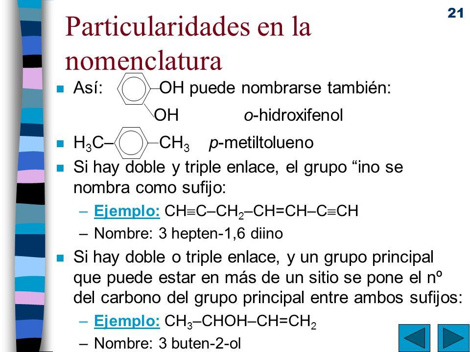 Particularidades en la nomenclatura