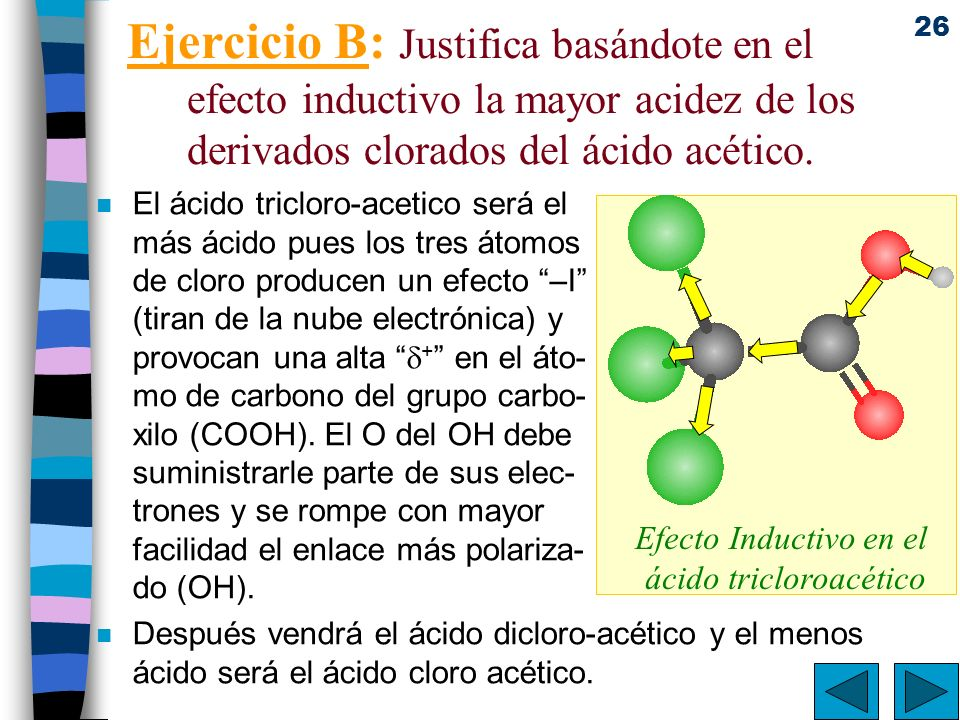 Efecto Inductivo en el ácido tricloroacético
