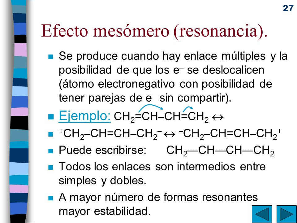 Efecto mesómero (resonancia).