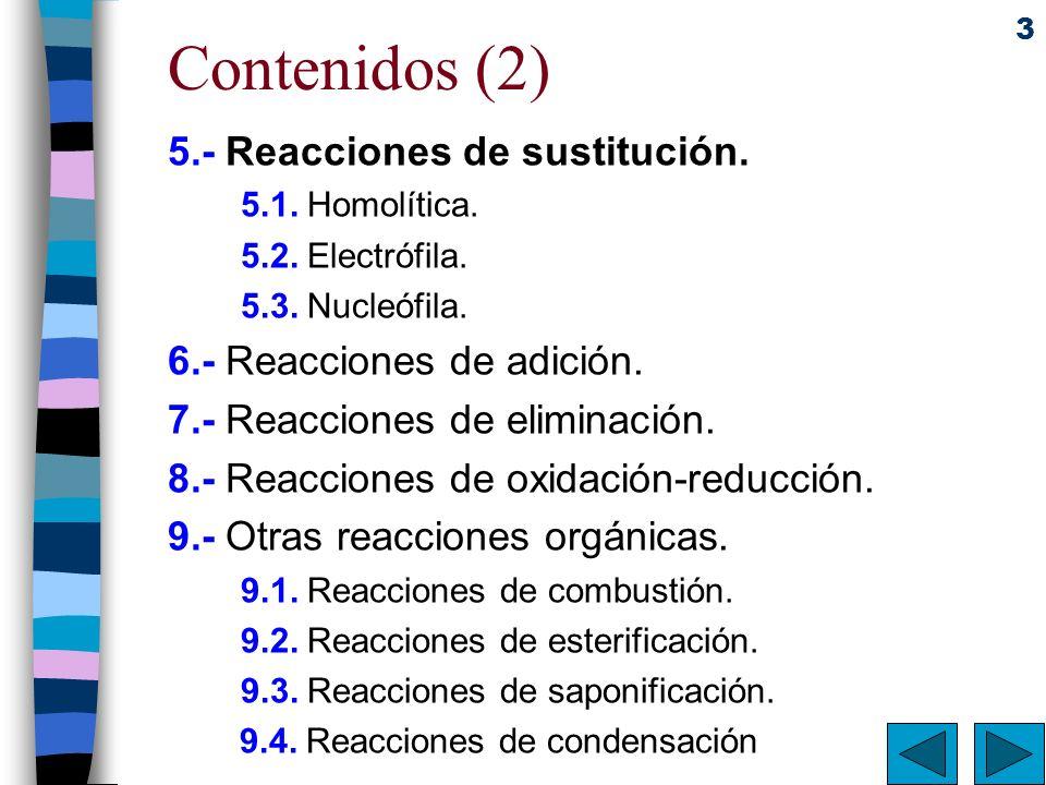 Contenidos (2) 5.- Reacciones de sustitución.