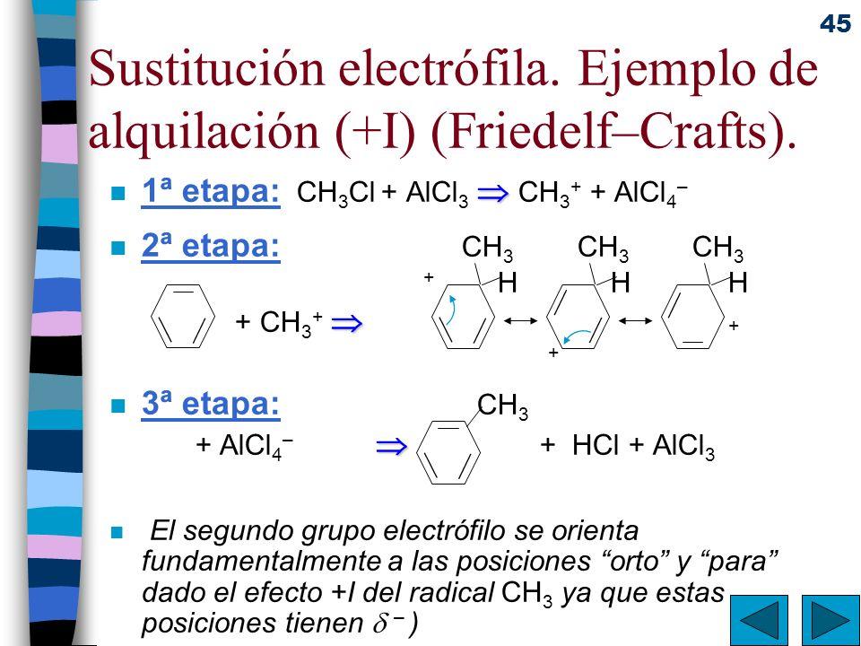 Sustitución electrófila. Ejemplo de alquilación (+I) (Friedelf–Crafts).