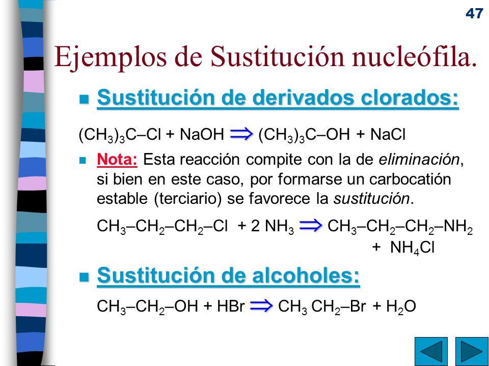 Ejemplos de Sustitución nucleófila.