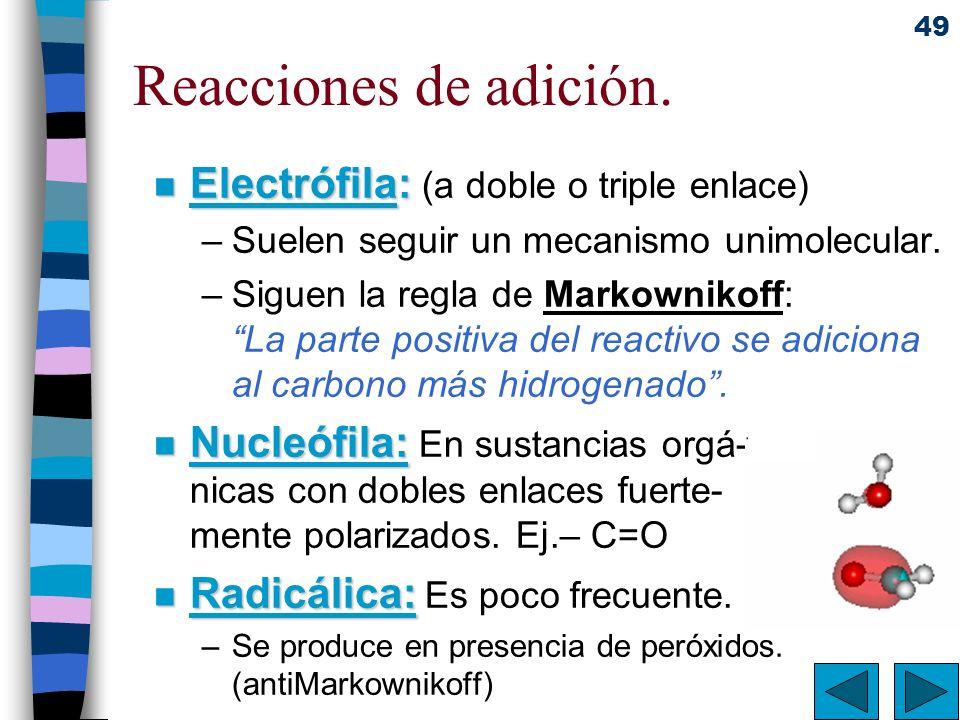 Reacciones de adición. Electrófila: (a doble o triple enlace)