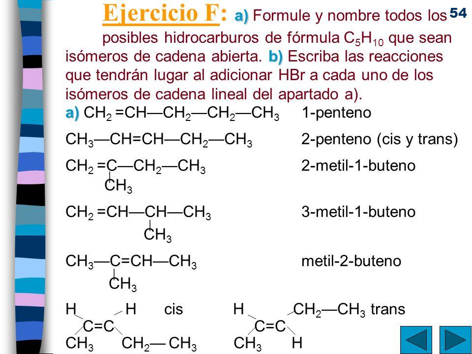 Ejercicio F: a) Formule y nombre todos los