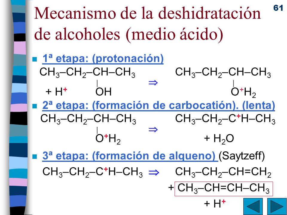 Mecanismo de la deshidratación de alcoholes (medio ácido)