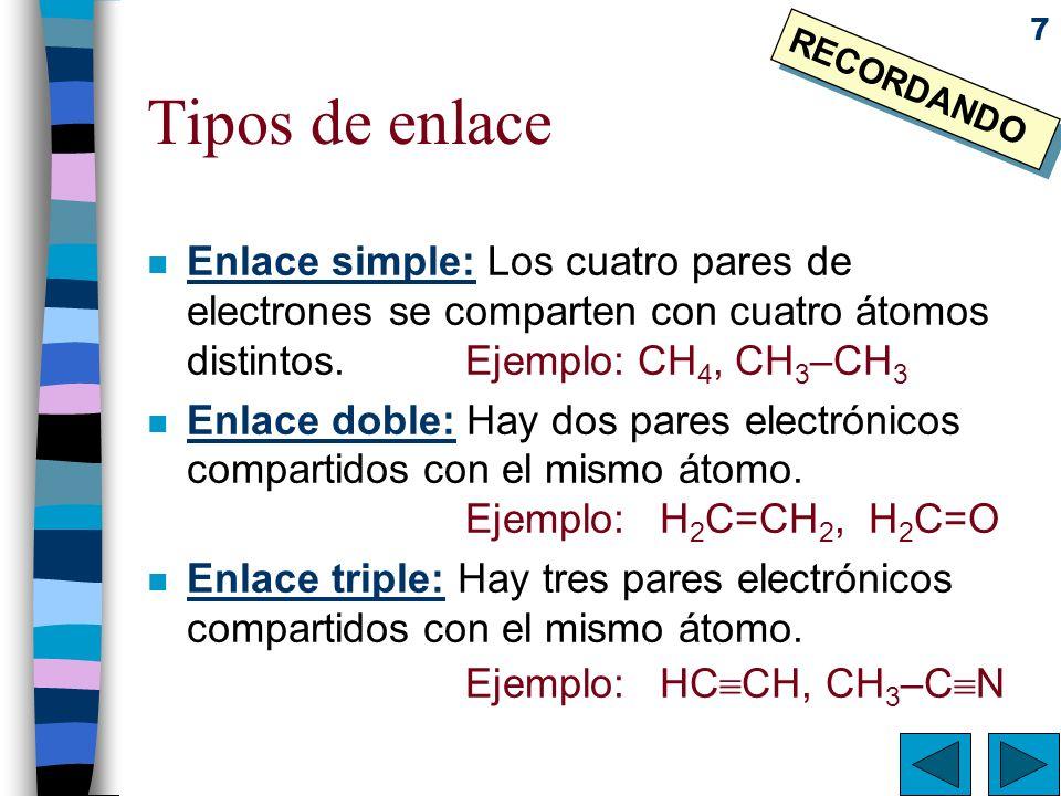 Tipos de enlace RECORDANDO. Enlace simple: Los cuatro pares de electrones se comparten con cuatro átomos distintos. Ejemplo: CH4, CH3–CH3.