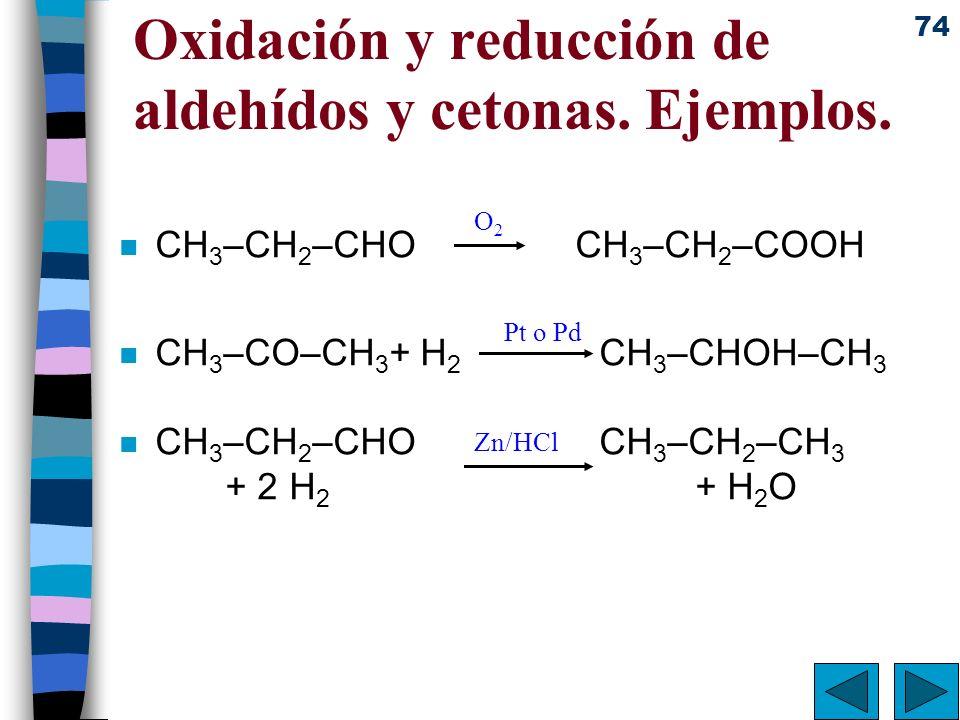 Oxidación y reducción de aldehídos y cetonas. Ejemplos.