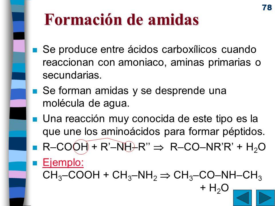 Formación de amidas Se produce entre ácidos carboxílicos cuando reaccionan con amoniaco, aminas primarias o secundarias.