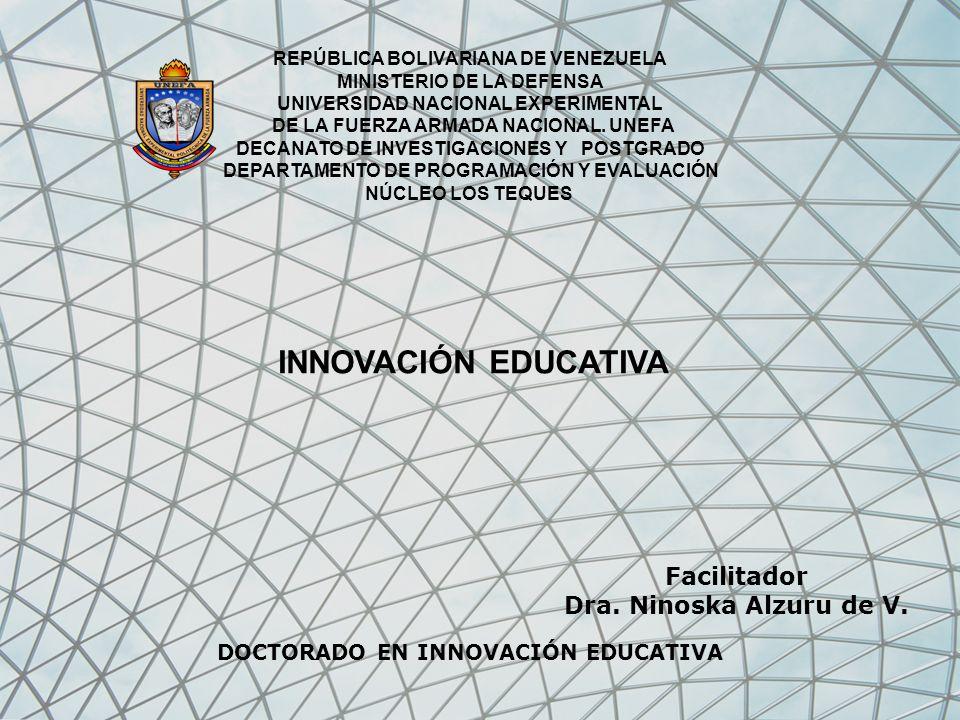 INNOVACIÓN EDUCATIVA Facilitador Dra. Ninoska Alzuru de V.