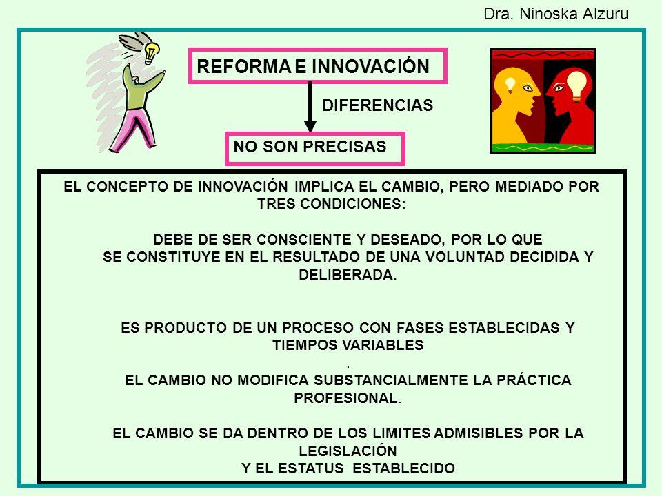 REFORMA E INNOVACIÓN Dra. Ninoska Alzuru DIFERENCIAS NO SON PRECISAS
